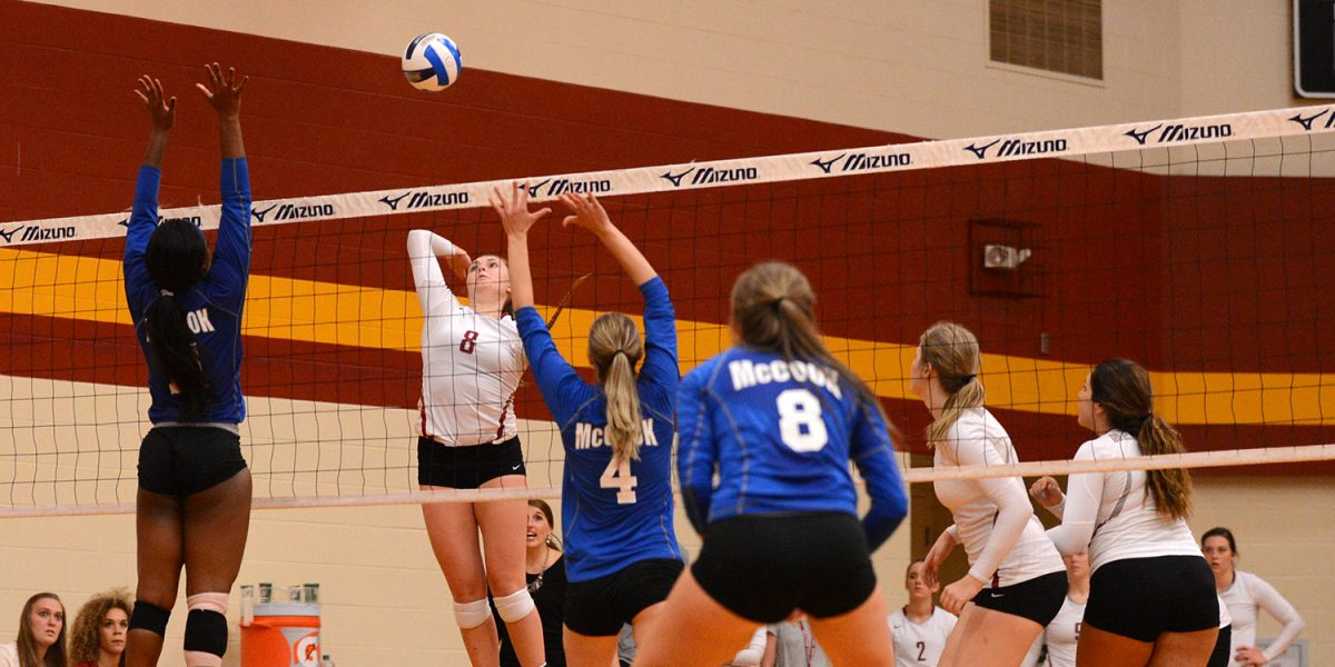 Hesston Larks volleyball player Sierrah Long goes for a kill