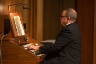 Ken Rodgers '85 plays the organ at the Gala Concert at Homecoming 2016
