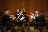 A brass quintet performs at the Gala Concert at Homecoming 2016