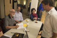 "Bible faculty members Marion Bontrager, John Sharp and Michele Hershberger sign ""The Bible as Story,"" their new book."