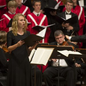 "Adele Hofer (sophomore, Greenwood Village, Colo.), performs a soprano solo from Mozart's ""Regina Coeli, KV 108,"""