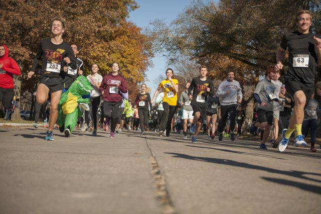 A group of 217 runners, walkers and joggers ranging in age from 3 to 91 begin the 25th two-mile run/walk on the day after Thanksgiving, named the Benjamin Bolt for 2016 in honor of interim president Ben Sprunger. Richmond Stoltzfus, a prospective student from Shipshewana, Ind., won the race with a time of 10:30.