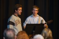 Jonah Short-Miller '17 (Bellingham, Wash.) and Noah Yoder '18 (Harrisonburg, Va.) perform at a coffeehouse.