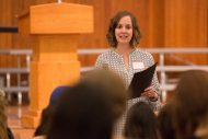Angela (Swartzendruber) '01 Hackman, a dual alumna of Hesston High School and Hesston College, speak s in a Go Everywhere seminar about her career in social work and director of Integrated Health at Penn Foundation in Sellersville, Pa.