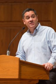 Marty Troyer '96 preaches during Homecoming Weekend worship