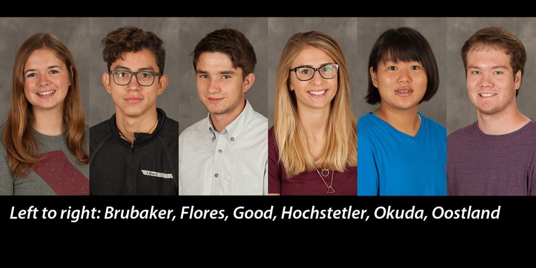 Mug shots of Erin Brubaker, Fred Flores, Kyle Good, Jonae Hochstetler, Miho Okuda and Ryan Oostland