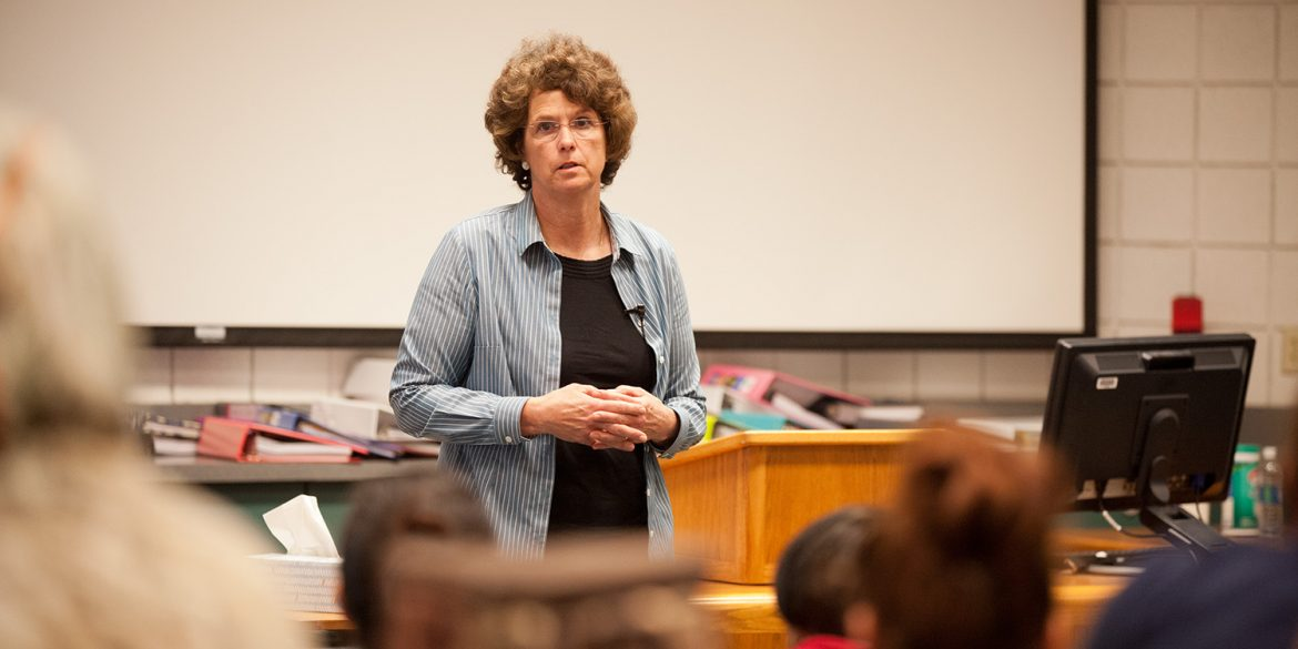 Kansas State Senator Carolyn McGinn speaks to nursing students at Hesston College