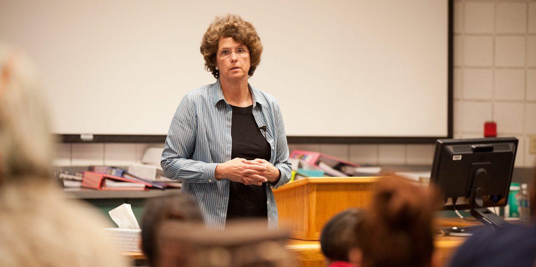 Kansas State Senator Carolyn McGinn speaks to nursing students at Hesston College