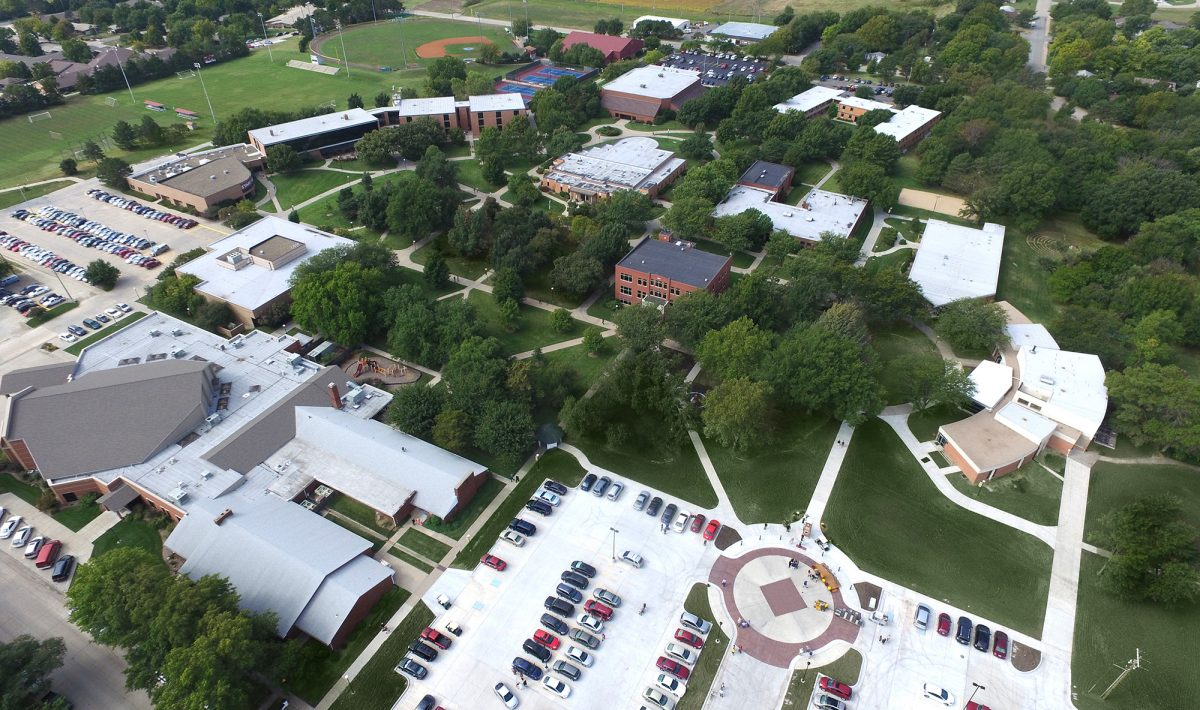 aerial photo of the Hesston College campus