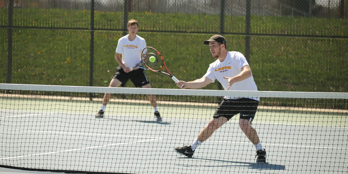 Hesston College men's tennis action photo