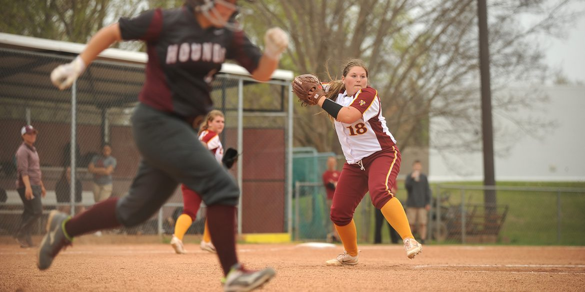Hesston College softball action photo