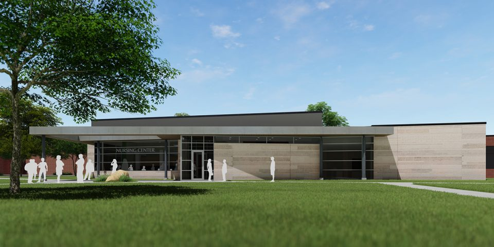 architect's rendering of Bonnie Sowers Nursing Education Center exterior