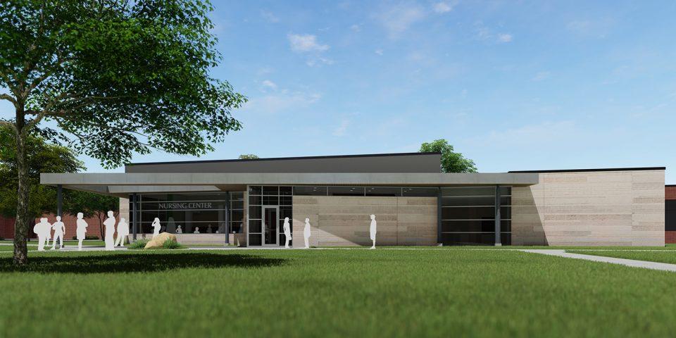 architect's rendering of Bonnie Sowers Nursing Education Center exterior
