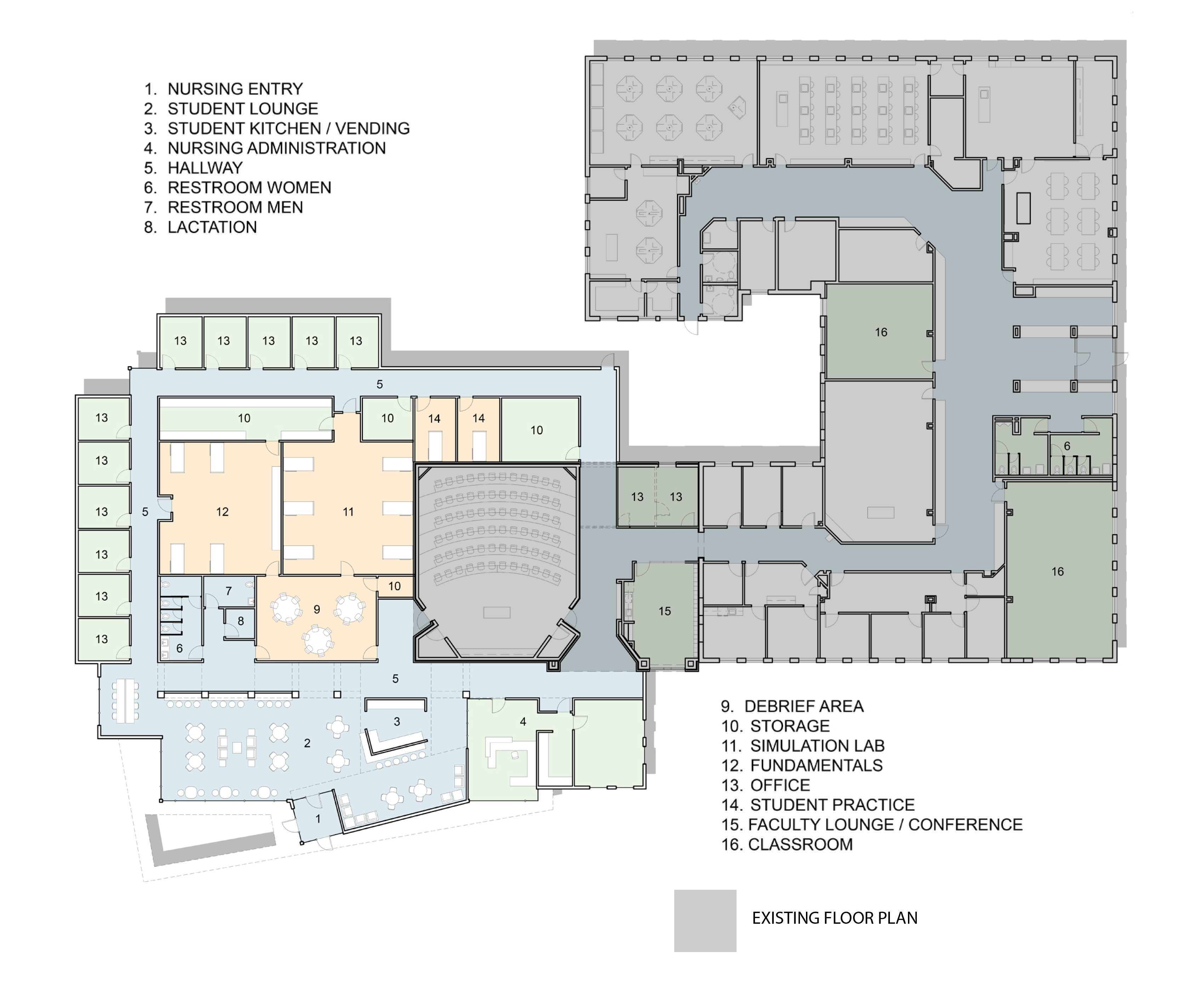 Potential floor plan for Bonnie Sowers Nursing Education Center