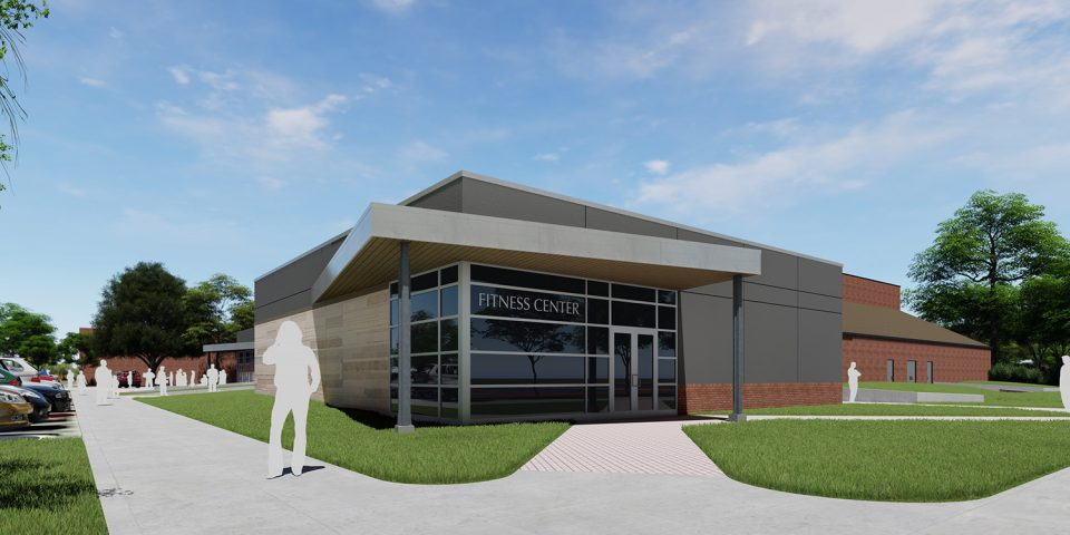architect's rendering of an updated Hesston College Yost Center
