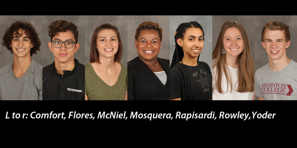 Hesston College students Lucas Comfort, Fred Flores, Chloe McNiel, Cristina Rapisardi, Shalee Rowley and Noah Yoder and faculty member Marelby Mosquera