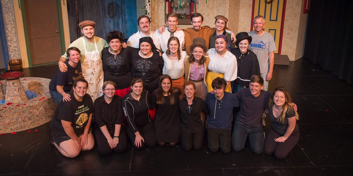 Cast and crew photo from Hesston College production of Fools