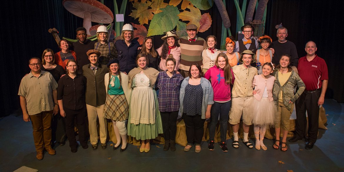 Cast and crew photo from Hesston College production of A Year with Frog and Toad