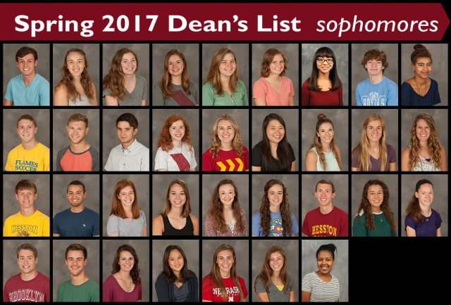 2017 spring dean's list - sophomores