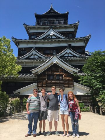 Members of the Japan group in front of Hiroshima Castle.