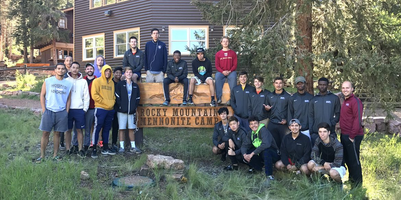 the 2017 Hesston College men's soccer team at Rocky Mountain Mennonite Camp