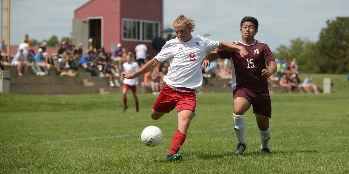 Dawson McCawley scores for Larks men's soccer.