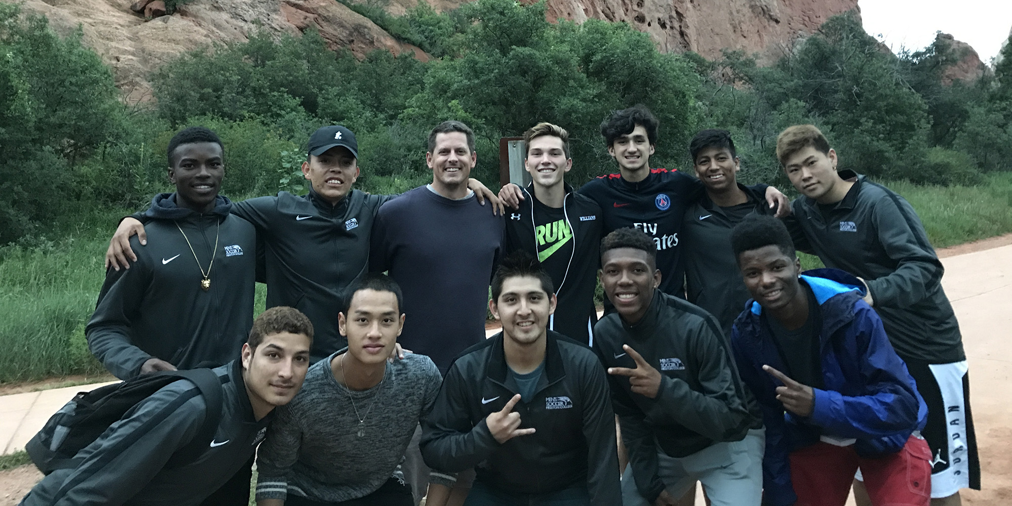 Team photo with former Lark soccer player Mark Lakin, class of '93 (back row, third from left), at Garden of the Gods