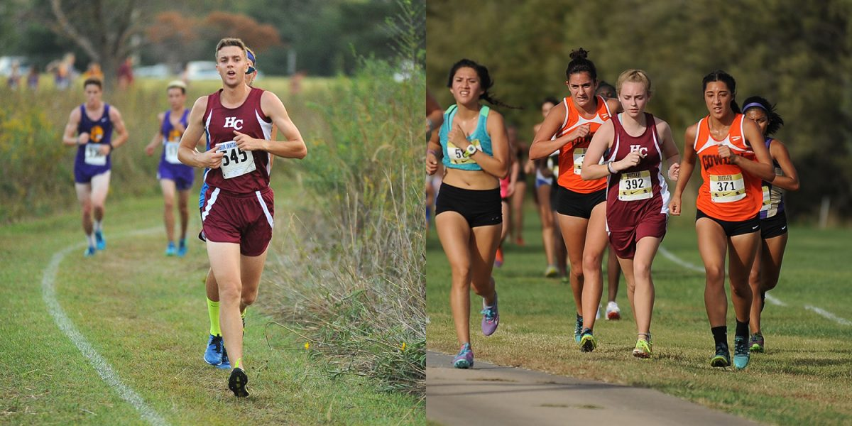 Hesston College cross country runners Angus Siemens and Sierra Broce compete in 2016 races