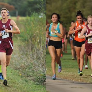Hesston College cross country runners Angus Siemens and Sierra Broce compete in 2016 races