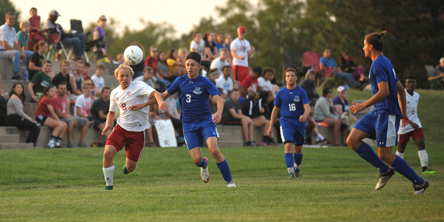 Hesston College men's soccer action photo - Dawson McCawley
