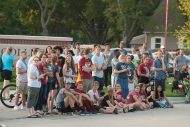 students at the Hesston Homecoming parade