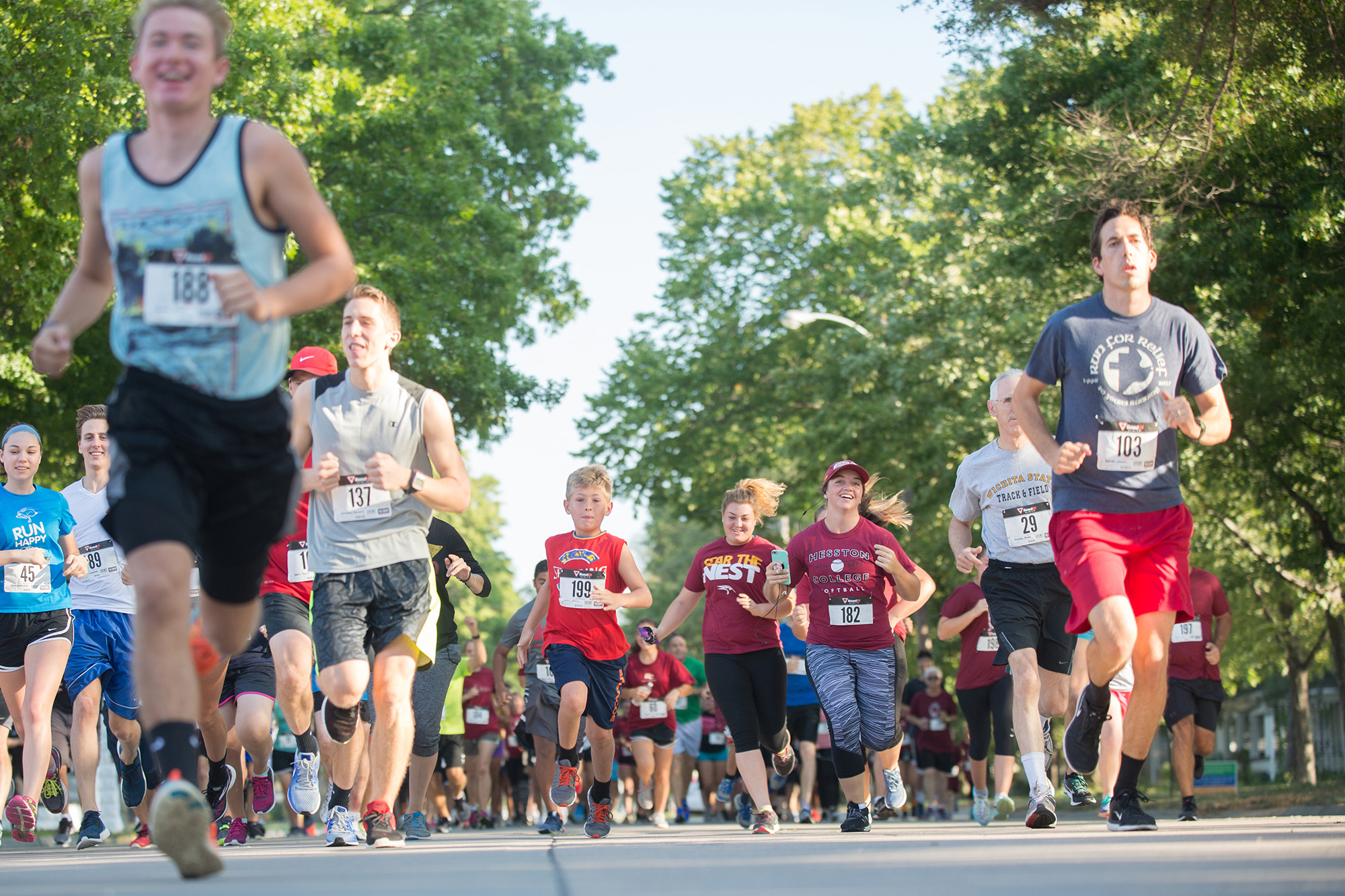 Runners start the Manickam Mosey two-mile run/walk on Saturday morning.