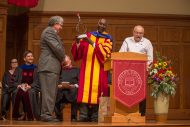 Faculty mentors reflect on President Manickam's time as a student at the inauguration service.
