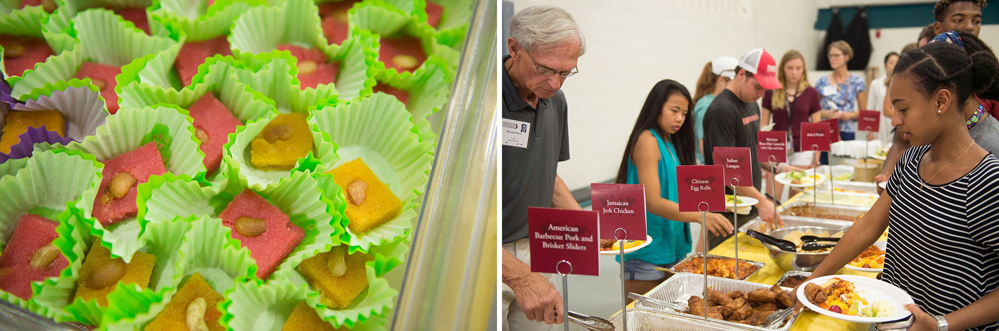 International fare at the Global Tastings Meal included a special cashew dessert prepared by President Manickam's sisters as well as jerk chicken, lasagne, egg rolls and a host of international flavors.