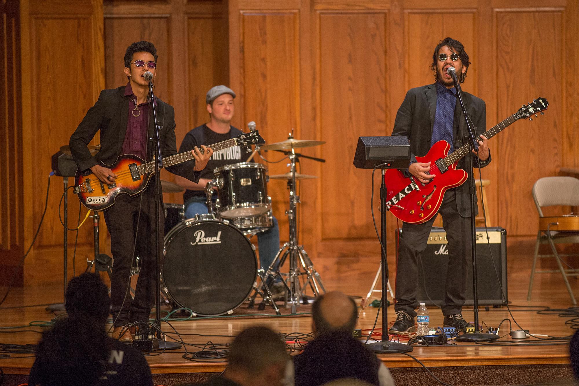 La Repvblica - Juan Moya, Nathaniel Yoder and Daniel Moya '08 - performs at the International Music Concert Saturday evening.