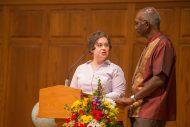 Hesston Mennonite Church Pastor Amy Nissley Stauffer and Hesston College President Joseph Manickam mark the 10th anniversary of HMC's buiding, a joint effort of the college and congregation.