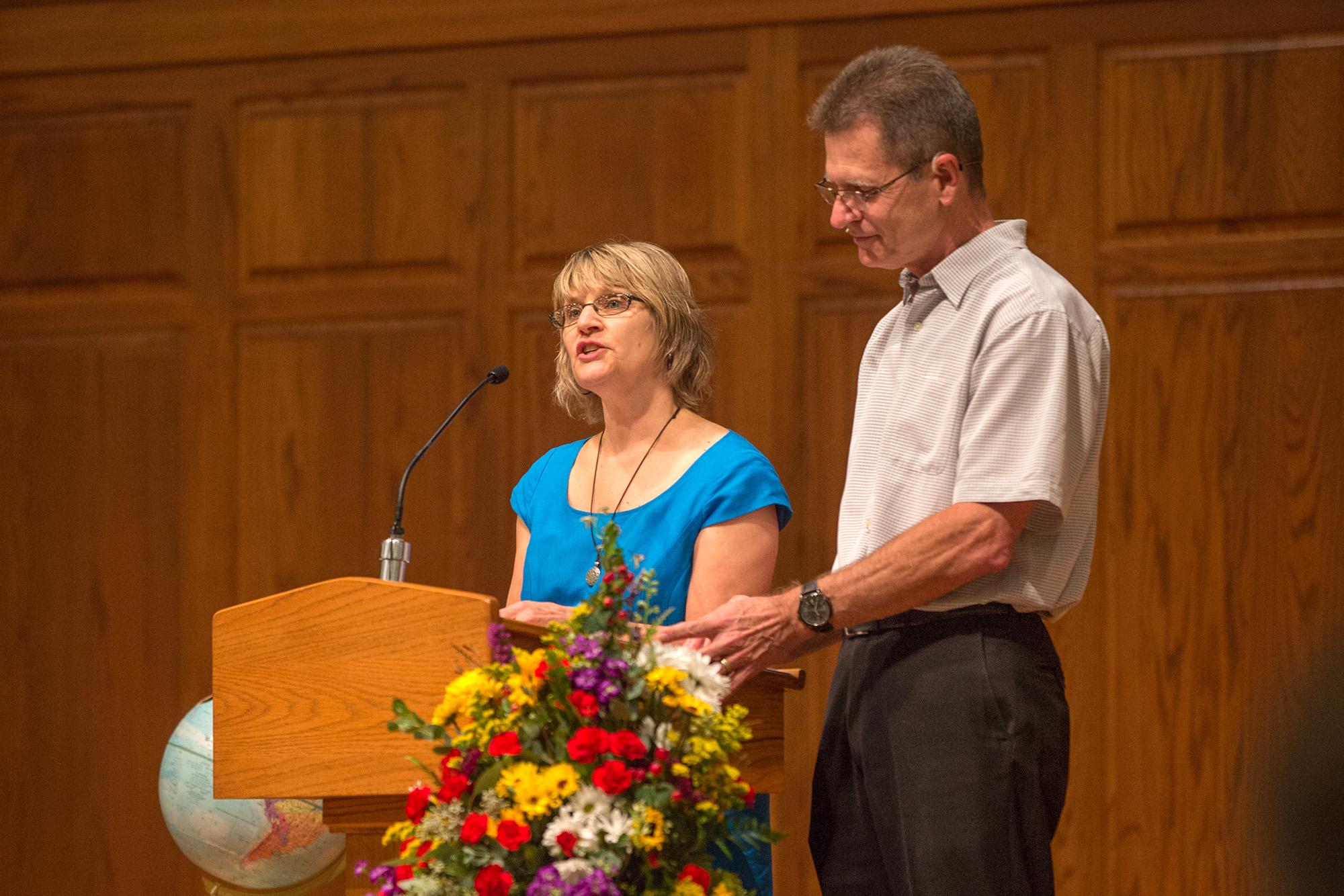 Kathy Keener Shantz and Stan Shantz preach at the Homecoming Weekend Worship Service.