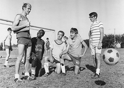A Hesston College archive photo of Gerry Sieber coaching soccer