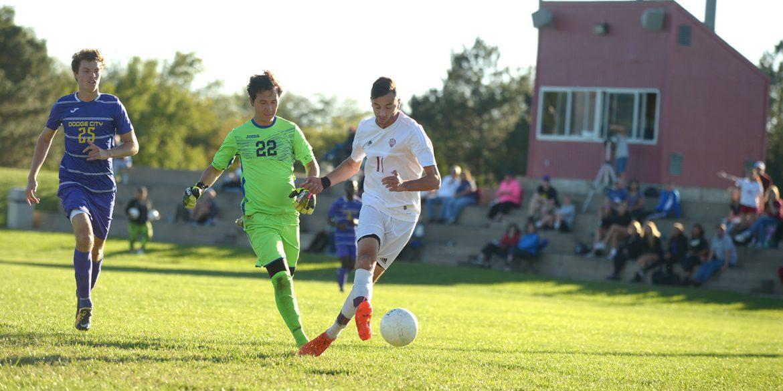 Larks men's soccer player Nadeem Jaber scores against Dodge City CC, Oct. 7, 2017