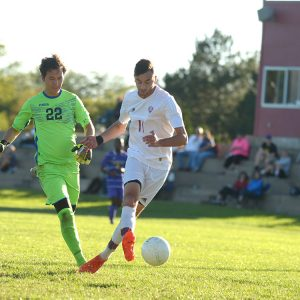 Larks men's soccer player Nadeem Jaber scores against Dodge City CC, Oct. 7, 2017
