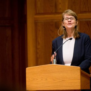 "Cynthia Barnett, author of ""Blue Revolution,"" speaks at Hesston Mennonite Church on the Hesston College campus."