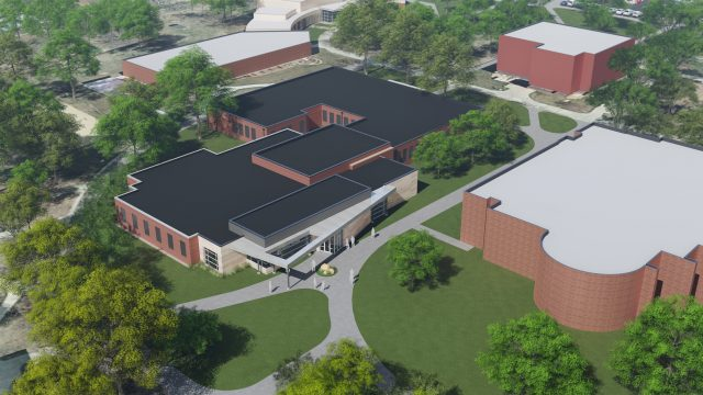Architect's rendering of nursing expansion project - aerial perspective