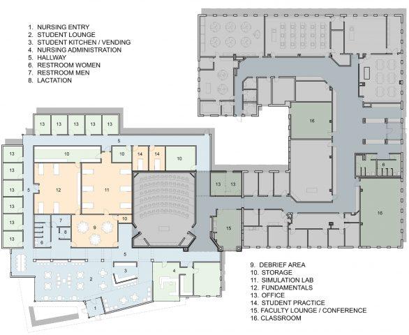 Nursing addition and Charles Hall floor plan