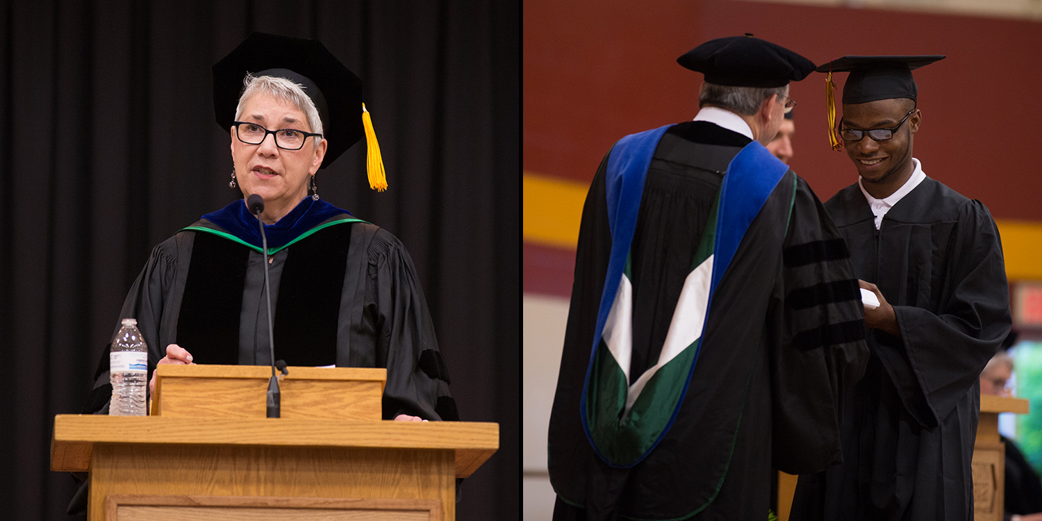 Two photos from 2017 Hesston College Commencement