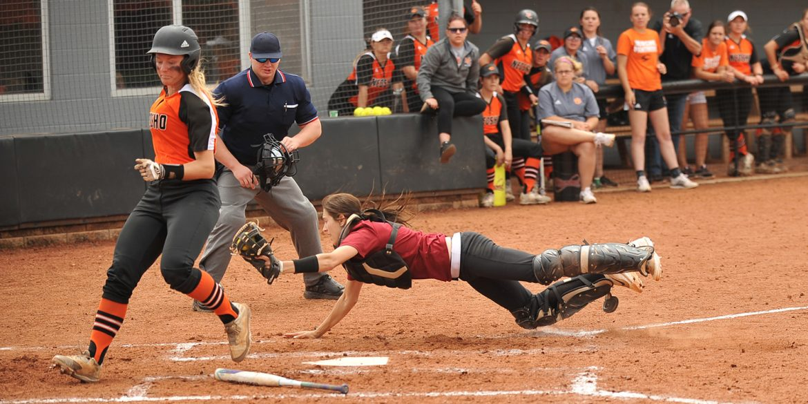 Catcher Ally Steiner couldn't quite tag the Neosho runner as the Larks fell in the playoffs.
