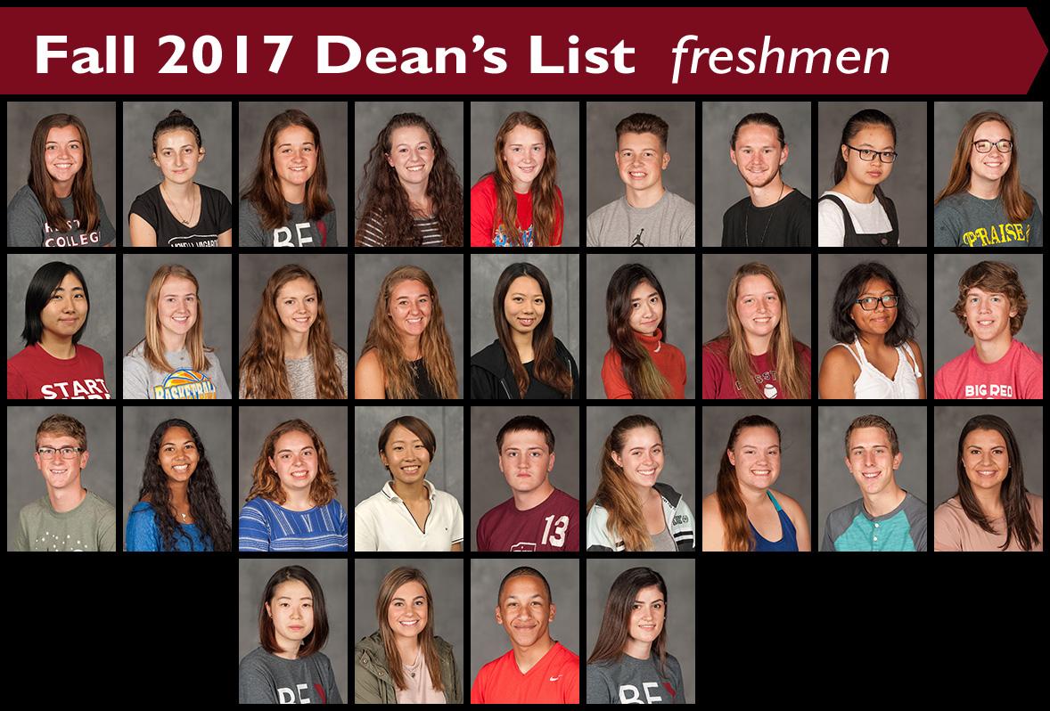 2017 Dean's List Freshmen
