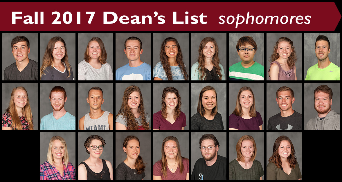 Fall 2017 Dean's List Sophomores