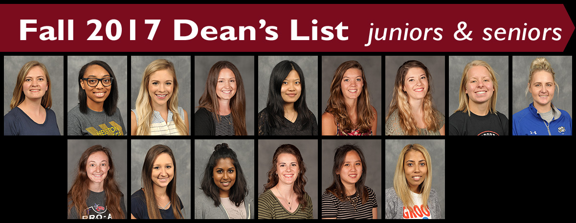 Fall 2017 Dean's List Juniors & Seniors