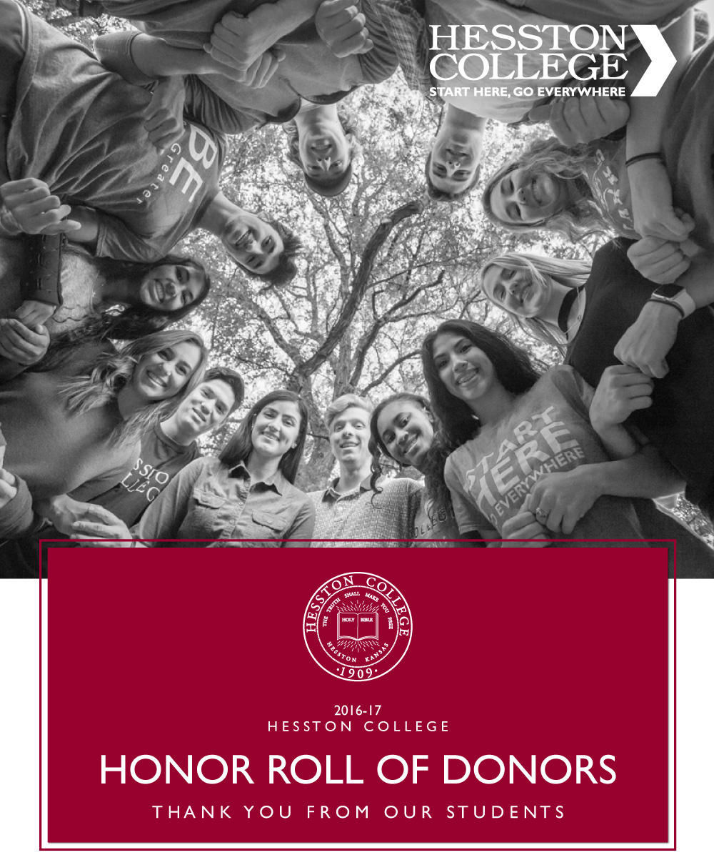 2016-17 Hesston College Honor Roll of Donors cover