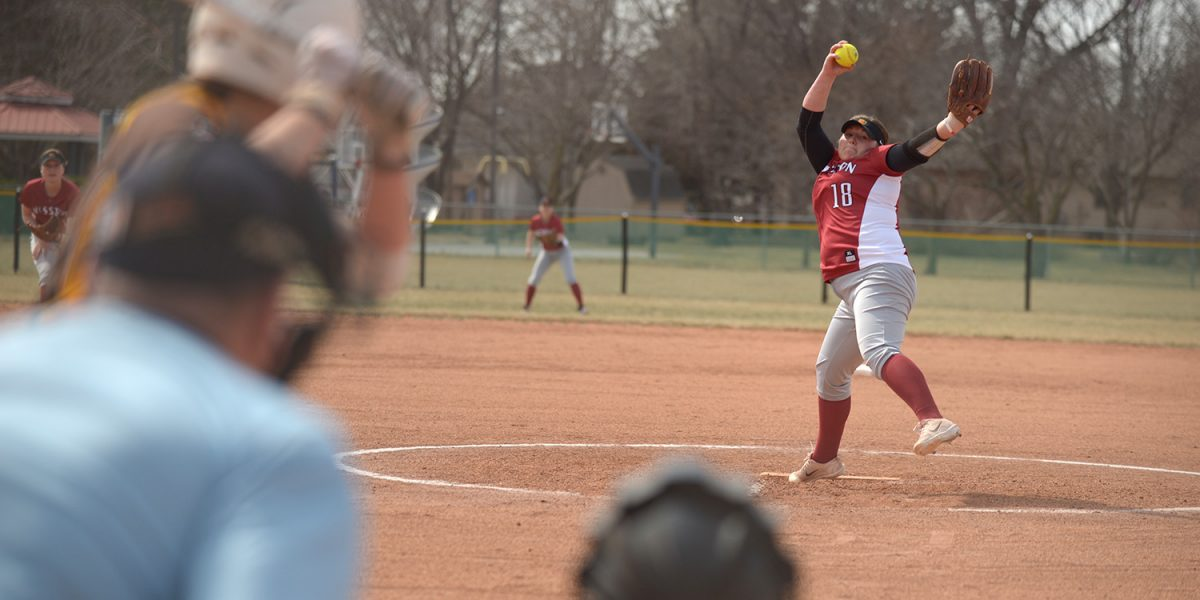 Hesston College softball action photo - Ashley Yasin
